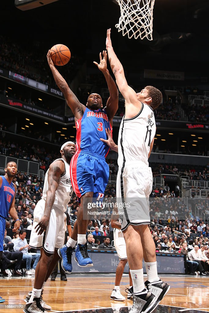 Rodney Stuckey #3 of the Detroit Pistons shoots against Brook Lopez #11 of the Brooklyn Nets on April 17, 2013 at the Barclays Center in the Brooklyn borough of New York City.