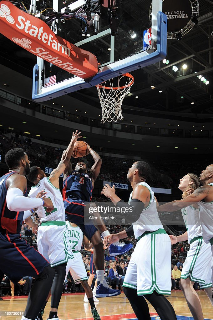 <a gi-track='captionPersonalityLinkClicked' href=/galleries/search?phrase=Rodney+Stuckey&family=editorial&specificpeople=4375687 ng-click='$event.stopPropagation()'>Rodney Stuckey</a> #3 of the Detroit Pistons shoots against <a gi-track='captionPersonalityLinkClicked' href=/galleries/search?phrase=Courtney+Lee&family=editorial&specificpeople=730223 ng-click='$event.stopPropagation()'>Courtney Lee</a> #11 of the Boston Celtics on November 3, 2013 at The Palace of Auburn Hills in Auburn Hills, Michigan.