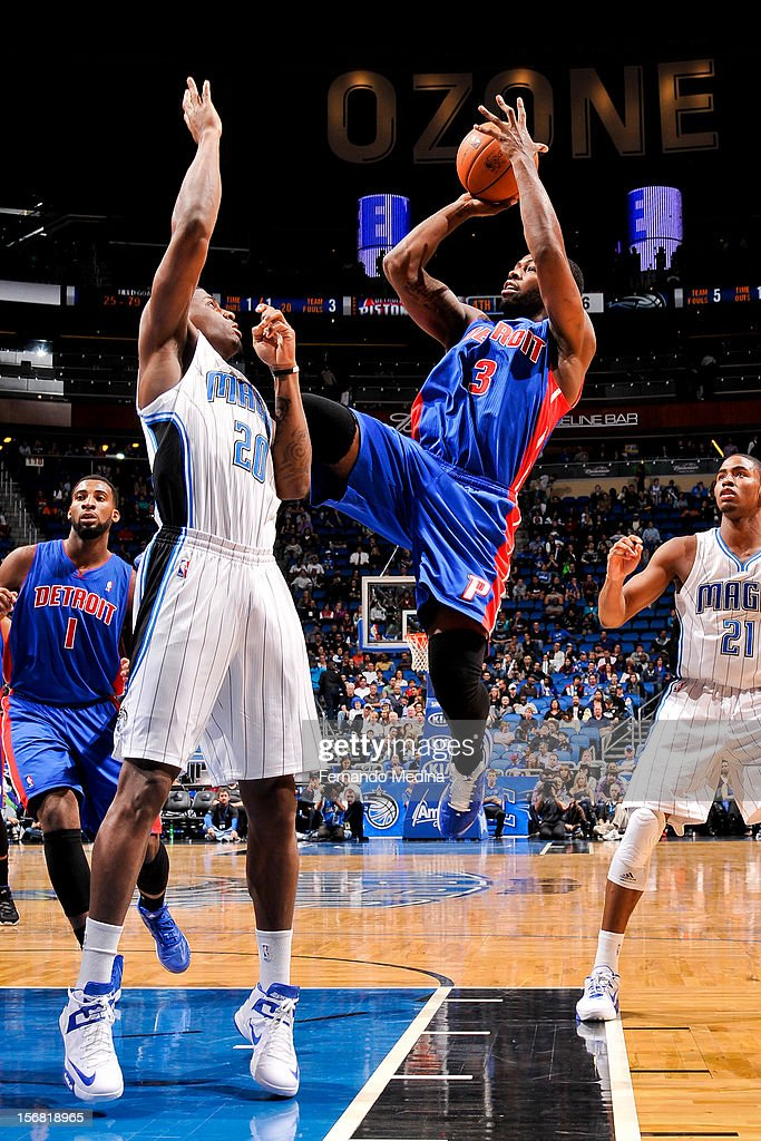 Rodney Stuckey #3 of the Detroit Pistons shoots against DeQuan Jones #20 of the Orlando Magic on November 21, 2012 at Amway Center in Orlando, Florida.
