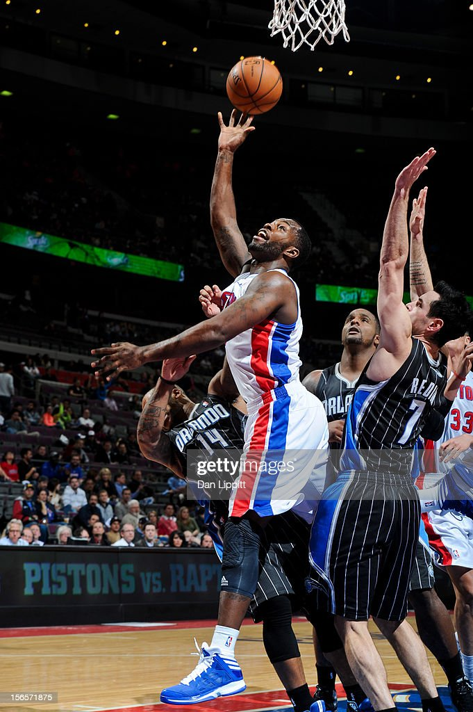 Rodney Stuckey #3 of the Detroit Pistons shoots against Jameer Nelson #14 of the Orlando Magic on November 16, 2012 at The Palace of Auburn Hills in Auburn Hills, Michigan.