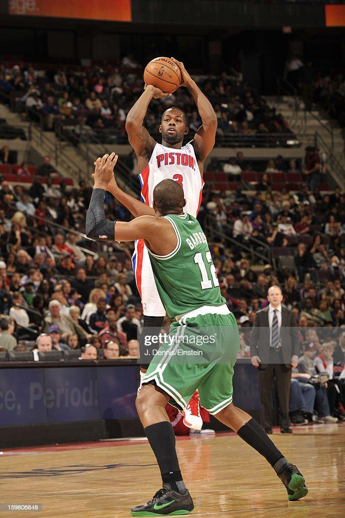 Rodney Stuckey #3 of the Detroit Pistons shoots against Leandro Barbosa #12 of the Boston Celtics on January 20, 2013 at The Palace of Auburn Hills in Auburn Hills, Michigan.