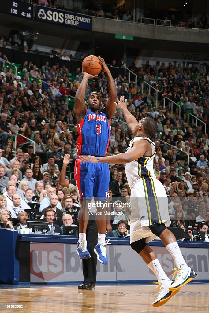 <a gi-track='captionPersonalityLinkClicked' href=/galleries/search?phrase=Rodney+Stuckey&family=editorial&specificpeople=4375687 ng-click='$event.stopPropagation()'>Rodney Stuckey</a> #3 of the Detroit Pistons shoots against <a gi-track='captionPersonalityLinkClicked' href=/galleries/search?phrase=Randy+Foye&family=editorial&specificpeople=240185 ng-click='$event.stopPropagation()'>Randy Foye</a> #8 of the Utah Jazz at Energy Solutions Arena on March 11, 2013 in Salt Lake City, Utah.