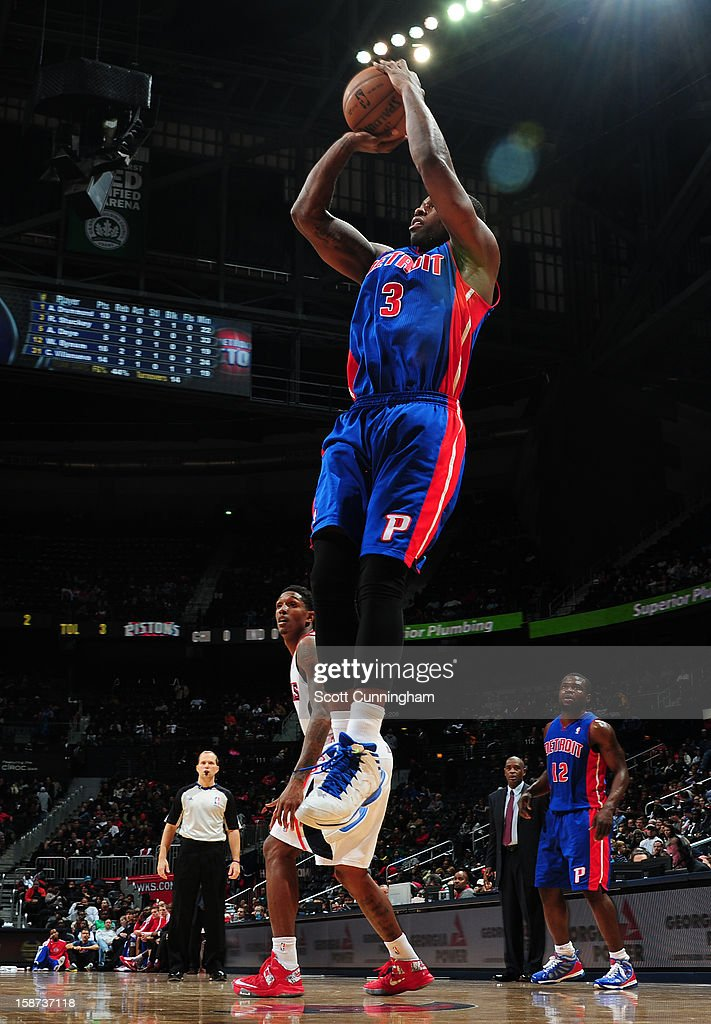 Rodney Stuckey #3 of the Detroit Pistons shoots against the Atlanta Hawks on December 26, 2012 at Philips Arena in Atlanta, Georgia.