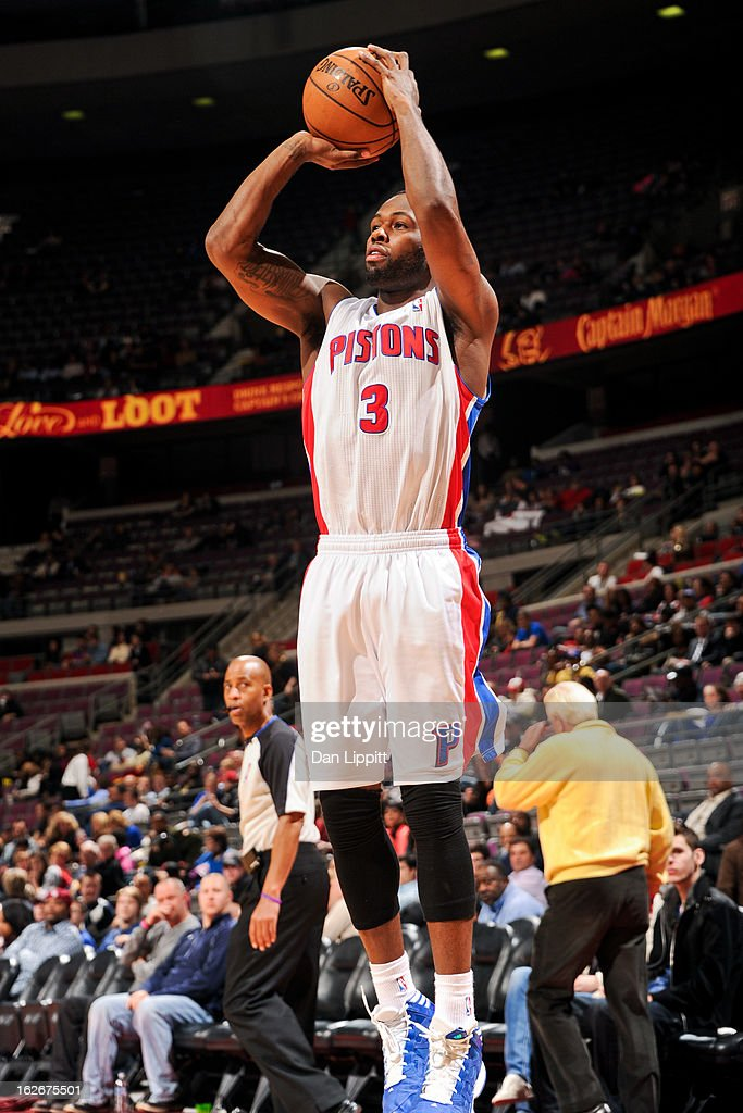 Rodney Stuckey #3 of the Detroit Pistons shoots against the Atlanta Hawks on February 25, 2013 at The Palace of Auburn Hills in Auburn Hills, Michigan.