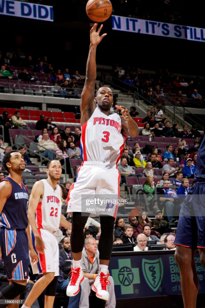 Rodney Stuckey #3 of the Detroit Pistons shoots against the Charlotte Bobcats on January 6, 2013 at The Palace of Auburn Hills in Auburn Hills, Michigan.