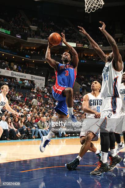 Rodney Stuckey of the Detroit Pistons shoots against the Charlotte Bobcats at the Time Warner Cable Arena on February 19 2014 in Charlotte North...