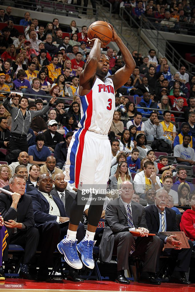 Rodney Stuckey #3 of the Detroit Pistons shoots against the Los Angeles Lakers on February 3, 2013 at The Palace of Auburn Hills in Auburn Hills, Michigan.
