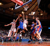 Rodney Stuckey of the Detroit Pistons shoots against the New York Knicks during the game on January 18 2010 at Madison Square Garden in New York City...