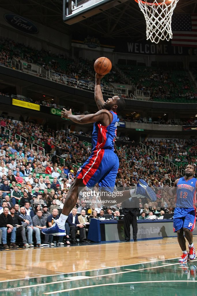<a gi-track='captionPersonalityLinkClicked' href=/galleries/search?phrase=Rodney+Stuckey&family=editorial&specificpeople=4375687 ng-click='$event.stopPropagation()'>Rodney Stuckey</a> #3 of the Detroit Pistons shoots against the Utah Jazz at Energy Solutions Arena on March 11, 2013 in Salt Lake City, Utah.