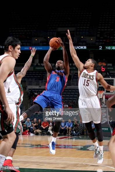 Rodney Stuckey of the Detroit Pistons shoots against Tobias Harris of the Milwaukee Bucks during the NBA preseason game on October 13 2012 at the BMO...