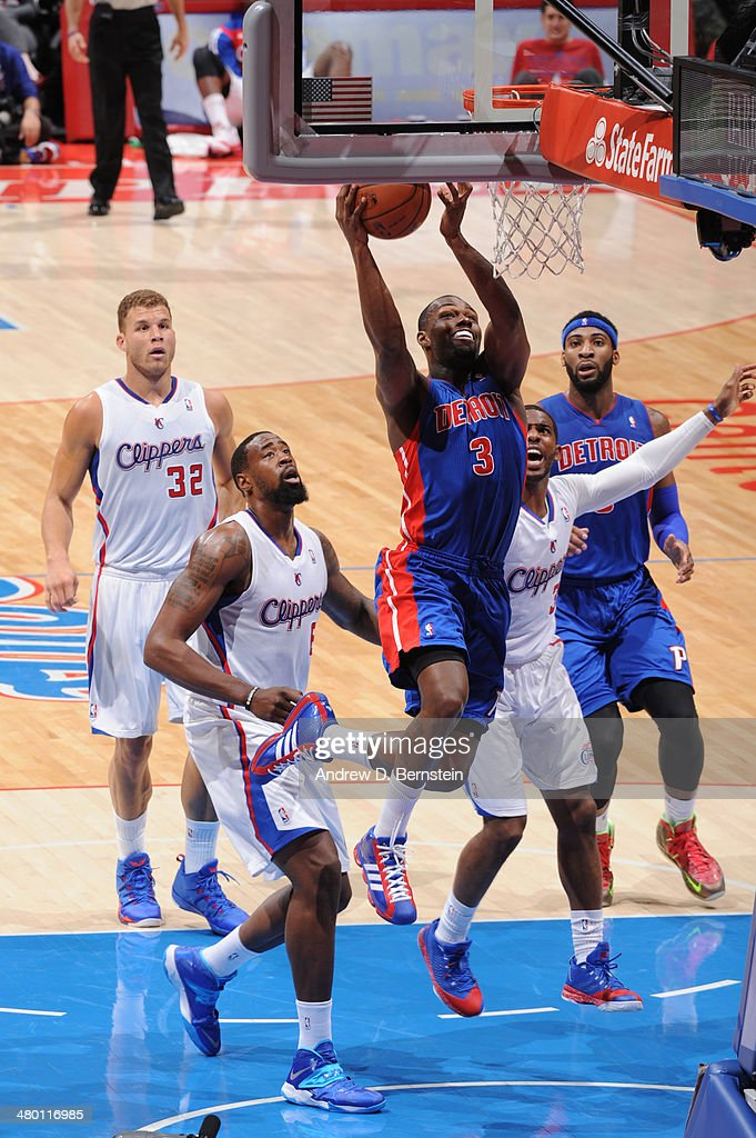 Rodney Stuckey #3 of the Detroit Pistons shoots during a game against the Los Angeles Clippers at STAPLES Center on March 22, 2014 in Los Angeles, California.