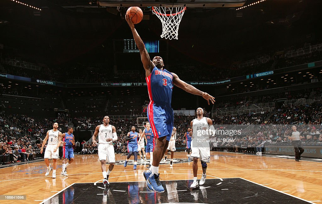 Rodney Stuckey #3 of the Detroit Pistons shoots in a game against the Brooklyn Nets on April 17, 2013 at the Barclays Center in the Brooklyn borough of New York City.