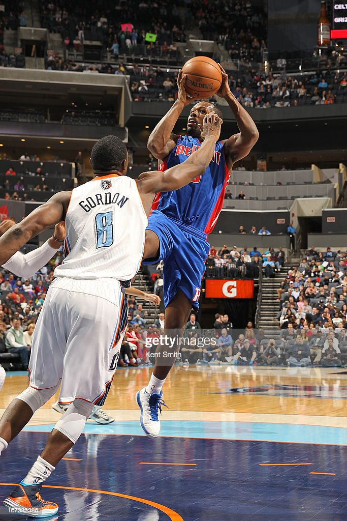 <a gi-track='captionPersonalityLinkClicked' href=/galleries/search?phrase=Rodney+Stuckey&family=editorial&specificpeople=4375687 ng-click='$event.stopPropagation()'>Rodney Stuckey</a> #3 of the Detroit Pistons shoots the ball against the Charlotte Bobcats at the Time Warner Cable Arena on March 23, 2013 in Charlotte, North Carolina.
