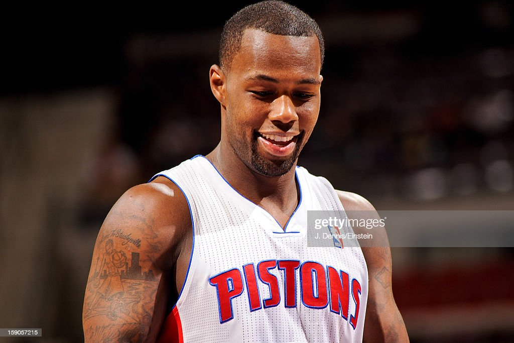 Rodney Stuckey #3 of the Detroit Pistons smiles during a game against the Charlotte Bobcats on January 6, 2013 at The Palace of Auburn Hills in Auburn Hills, Michigan.