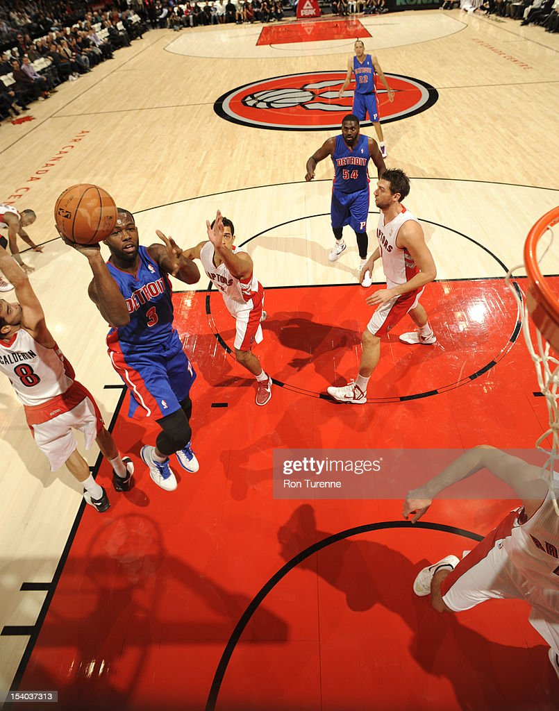 <a gi-track='captionPersonalityLinkClicked' href=/galleries/search?phrase=Rodney+Stuckey&family=editorial&specificpeople=4375687 ng-click='$event.stopPropagation()'>Rodney Stuckey</a> #3 of the Detroit Pistons takes a jumper against the Toronto Raptors on October 12, 2012 at the Air Canada Centre in Toronto, Ontario, Canada.