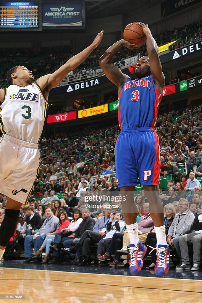 <a gi-track='captionPersonalityLinkClicked' href=/galleries/search?phrase=Rodney+Stuckey&family=editorial&specificpeople=4375687 ng-click='$event.stopPropagation()'>Rodney Stuckey</a> #3 of the Detroit Pistons takes a shot against the Utah Jazz at EnergySolutions Arena on March 24, 2014 in Salt Lake City, Utah.