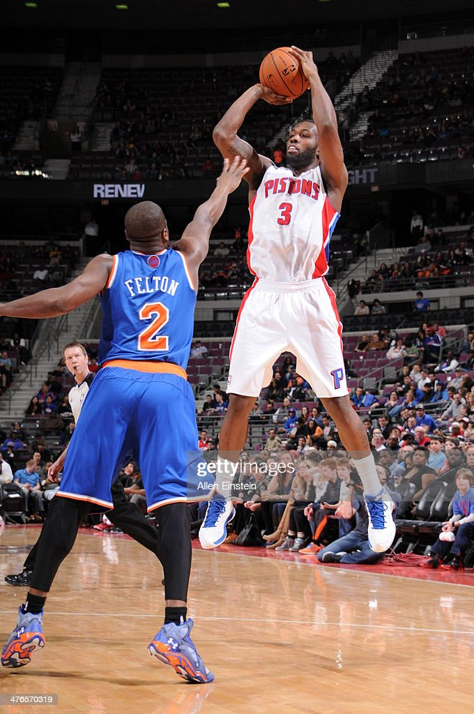 <a gi-track='captionPersonalityLinkClicked' href=/galleries/search?phrase=Rodney+Stuckey&family=editorial&specificpeople=4375687 ng-click='$event.stopPropagation()'>Rodney Stuckey</a> #3 of the Detroit Pistons takes a shot during a game against the New York Knicks on March 3, 2014 at The Palace of Auburn Hills in Auburn Hills, Michigan.