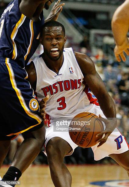 Rodney Stuckey of the Detroit Pistons tries to drive around Lance Stephenson of the Indiana Pacers during the second half at the Palace of Auburn...
