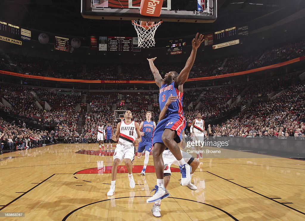 <a gi-track='captionPersonalityLinkClicked' href=/galleries/search?phrase=Rodney+Stuckey&family=editorial&specificpeople=4375687 ng-click='$event.stopPropagation()'>Rodney Stuckey</a> #3 of the Detroit Pistons watches the ball drop through the basket during the game between the Detroit Pistons and the Portland Trail Blazers on March 16, 2013 at the Rose Garden Arena in Portland, Oregon.