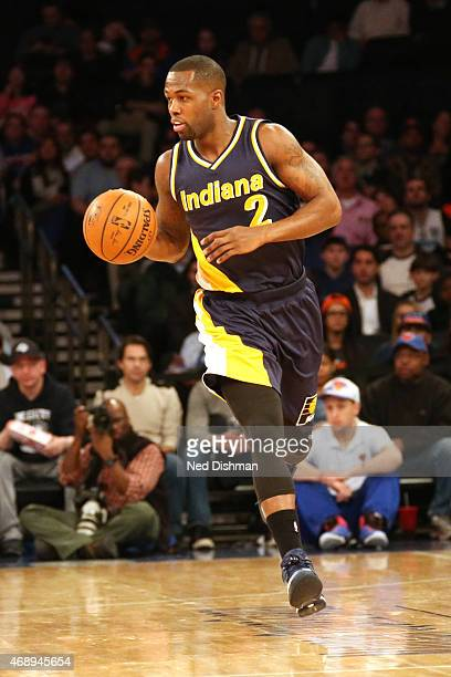 Rodney Stuckey of the Indiana Pacers brings the ball up court against the New York Knicks on April 8 2015 at Madison Square Garden in New York City...