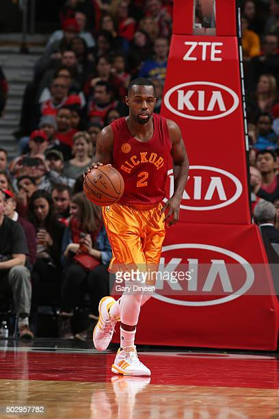 Rodney Stuckey of the Indiana Pacers brings the ball up court against the Chicago Bulls on December 30 2015 at the United Center in Chicago Illinois...