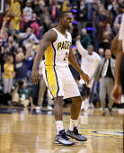 Rodney Stuckey of the Indiana Pacers celebrates after the Pacers beat the Charlotte Hornets on a last second basket at Bankers Life Fieldhouse on...
