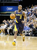 Rodney Stuckey of the Indiana Pacers dribbles the ball during the game against the Golden State Warriors at Bankers Life Fieldhouse on February 22...