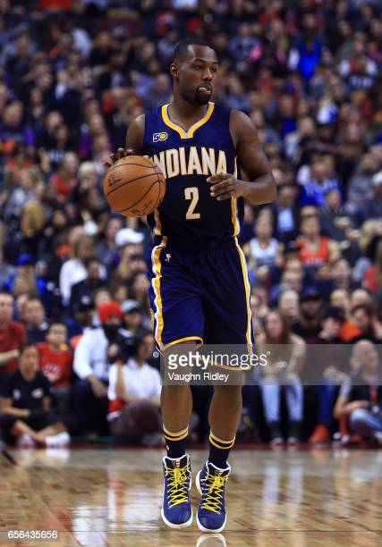 Rodney Stuckey of the Indiana Pacers dribbles the ball during the first half of an NBA game against the Toronto Raptors at Air Canada Centre on March...
