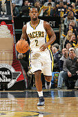 Rodney Stuckey of the Indiana Pacers drives against the Phoenix Suns on November 22 2014 at Bankers Life Fieldhouse in Indianapolis Indiana NOTE TO...