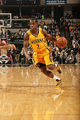 Rodney Stuckey of the Indiana Pacers drives to the basket against the Los Angeles Lakers on December 15 2014 at Bankers Life Fieldhouse in...