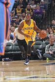 Rodney Stuckey of the Indiana Pacers drives to the basket against the Oklahoma City Thunder during the game on April 12 2015 at Bankers Life...