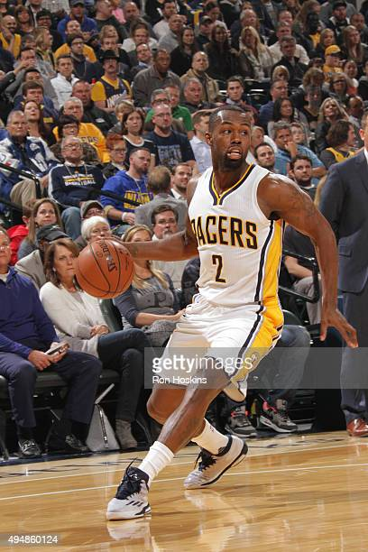 Rodney Stuckey of the Indiana Pacers drives to the basket against the Memphis Grizzlies the during the game on October 29 2015 at Bankers Life...
