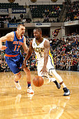Rodney Stuckey of the Indiana Pacers drives to the basket during the game against the New York Knicks on April 12 2016 at Bankers Life Fieldhouse in...
