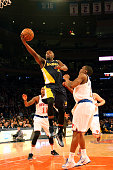 Rodney Stuckey of the Indiana Pacers goes to the basket against the New York Knicks on April 8 2015 at Madison Square Garden in New York City NOTE TO...