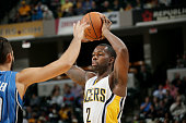 Rodney Stuckey of the Indiana Pacers handles the ball against at Bankers Life Fieldhouse on October 10 2014 in Indianapolis Indiana NOTE TO USER User...