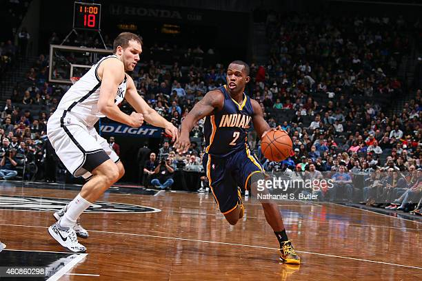 Rodney Stuckey of the Indiana Pacers handles the ball against the Brooklyn Nets during the game on December 27 2014 at Barclays Center in Brooklyn...