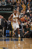 Rodney Stuckey of the Indiana Pacers handles the ball against the Miami Heat during the game on December 31 2014 at Bankers Life Fieldhouse in...