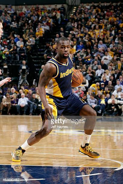 Rodney Stuckey of the Indiana Pacers handles the ball against the Cleveland Cavaliers at Bankers Life Fieldhouse on February 27 2015 in Indianapolis...