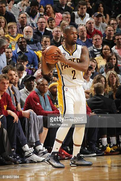 Rodney Stuckey of the Indiana Pacers handles the ball against the Cleveland Cavaliers on April 6 2016 at Bankers Life Fieldhouse in Indianapolis...
