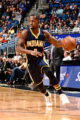 Rodney Stuckey of the Indiana Pacers handles the ball during the game against the Orlando Magic on January 6 2016 at Amway Center in Orlando Florida...