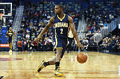 Rodney Stuckey of the Indiana Pacers handles the ball during the first half of a game against the New Orleans Pelicans at the Smoothie King Center on...