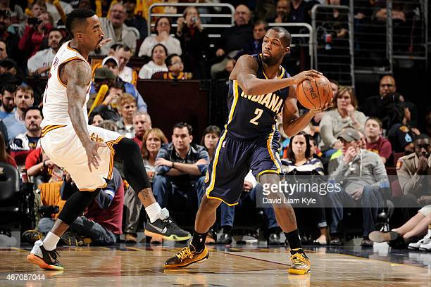 Rodney Stuckey of the Indiana Pacers looks to move the ball against the Cleveland Cavaliers during the game on March 20 2015 at Quicken Loans Arena...