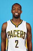 Rodney Stuckey of the Indiana Pacers poses for a head shot during the Indiana Pacers media day at Bankers Life Fieldhouse on September 28 2015 in...