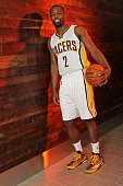 Rodney Stuckey of the Indiana Pacers poses for a portrait during the Indiana Pacers media day at Bankers Life Fieldhouse on September 28 2015 in...
