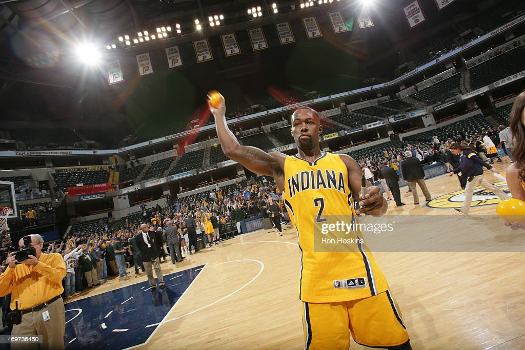 Rodney Stuckey of the Indiana Pacers post game with fans after a win against the Washington Wizards on April 14 2015 at the Bankers Life Fieldhouse...