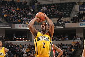 Rodney Stuckey of the Indiana Pacers prepares to shoot a free throw against the Milwaukee Bucks on March 12 2015 at Bankers Life Fieldhouse in...