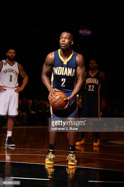Rodney Stuckey of the Indiana Pacers shoots a free throw against the Brooklyn Nets during the game on December 27 2014 at Barclays Center in Brooklyn...