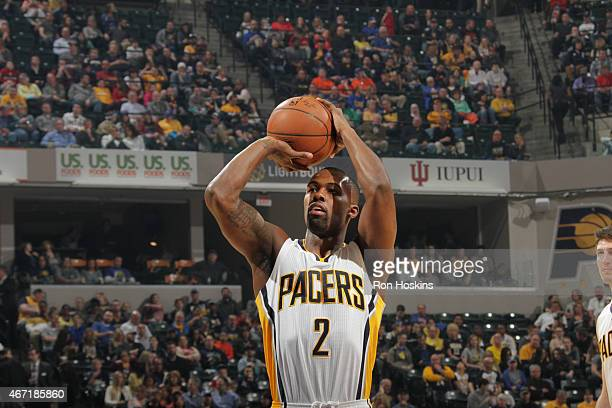 Rodney Stuckey of the Indiana Pacers shoots against the Brooklyn Nets during the game on March 21 2015 at Bankers Life Fieldhouse in Indianapolis...