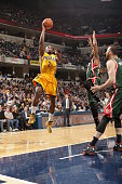 Rodney Stuckey of the Indiana Pacers shoots against the Milwaukee Bucks on March 12 2015 at Bankers Life Fieldhouse in Indianapolis Indiana NOTE TO...