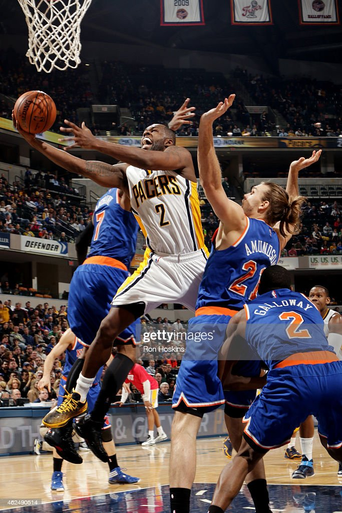 Rodney Stuckey of the Indiana Pacers shoots against the New York Knicks on January 29 2015 at Bankers Life Fieldhouse in Indianapolis Indiana NOTE TO...